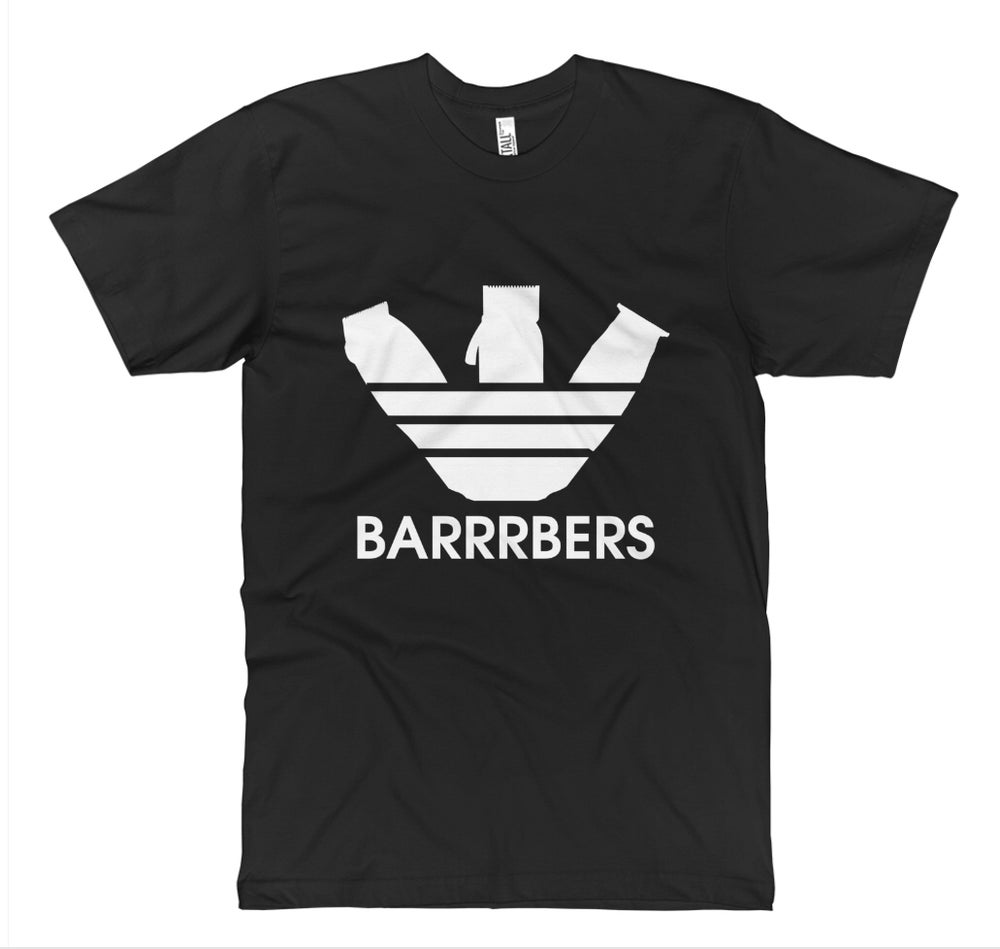 """Image of """"BARRRBERS"""" White Clippers T-Shirt!"""