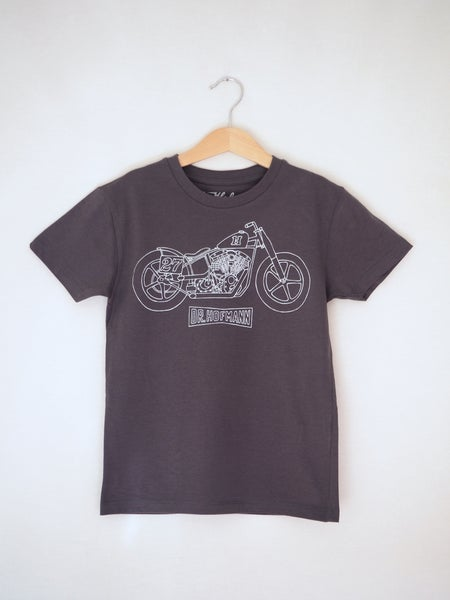 "Image of Kids ""MOTORCYCLE"" Tee - Organic Cotton - Anthracite"