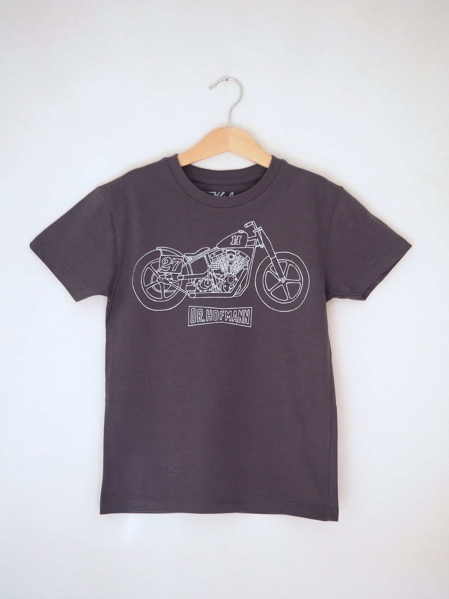 "Image of Kids ""MOTORCYCLE"" Tee - Organic Cotton - Anthracite"