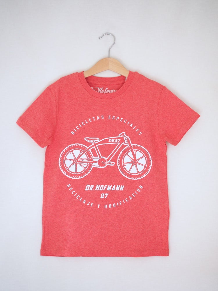 "Image of Kids ""MOTOCLETA"" Tee -  Organic Cotton - Mid Heather Red"