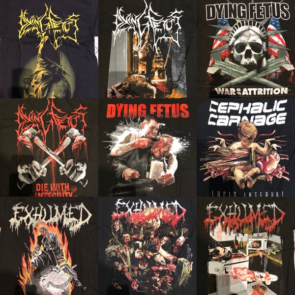 Image of DYING FETUS / CEPHALIC CARNAGE / EXHUMED Shirts in S