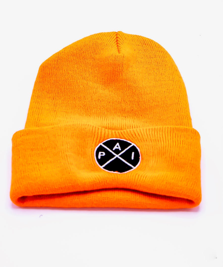 Image of Black and White Accent Orange Beanie