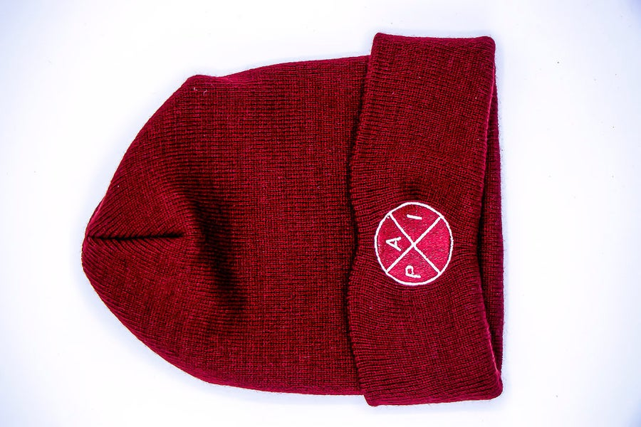 Image of White Accent Maroon Beanie