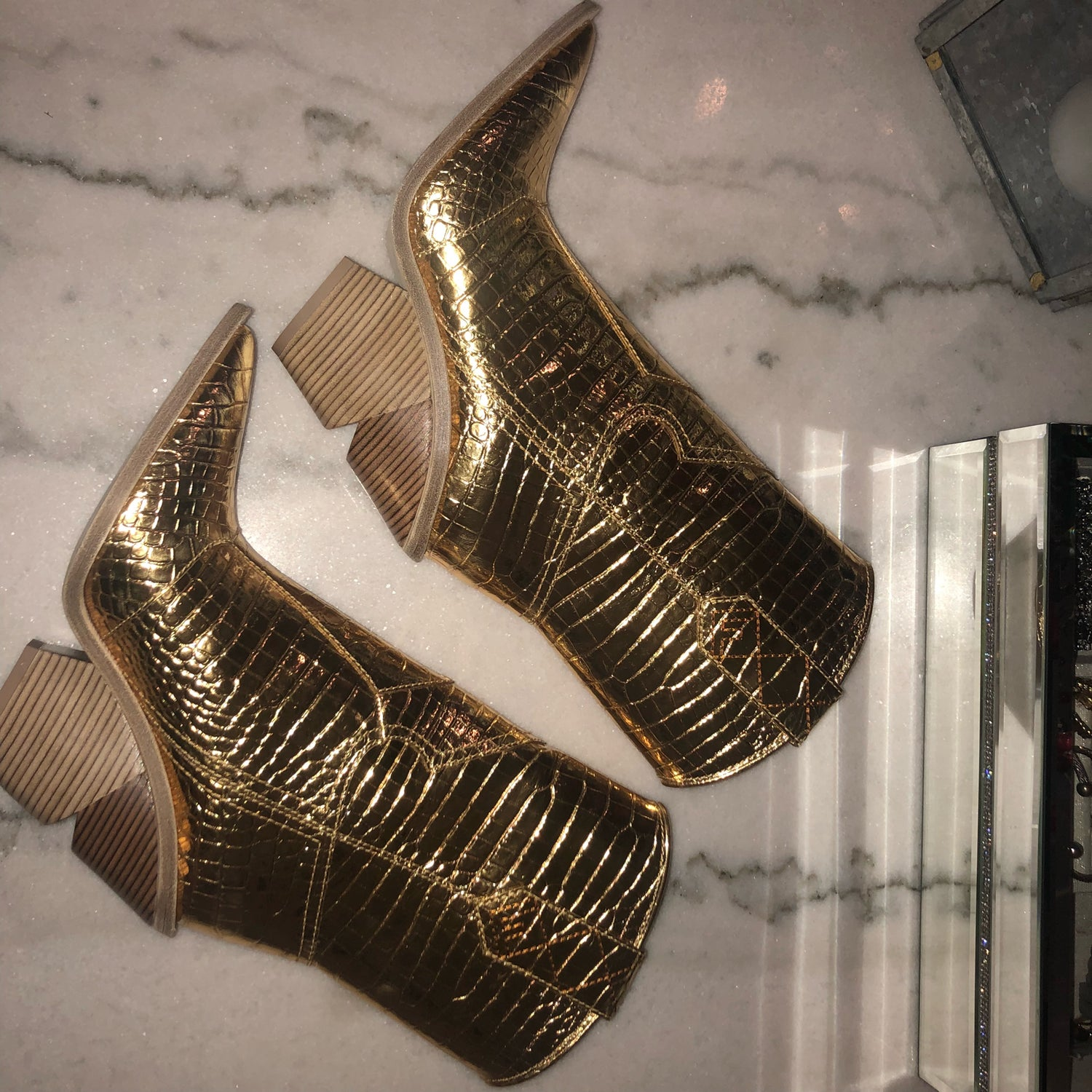 Image of FENDI COWBOY BOOT (GOLD METALLIC)
