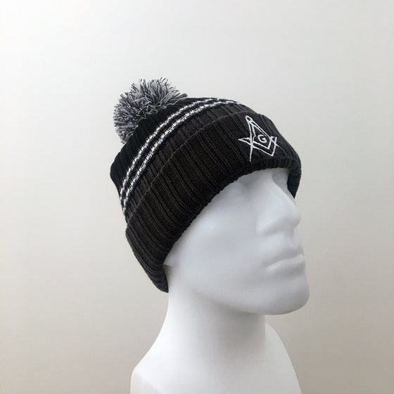 Image of Dark Graphite Ribbed Knit with Pom Pom