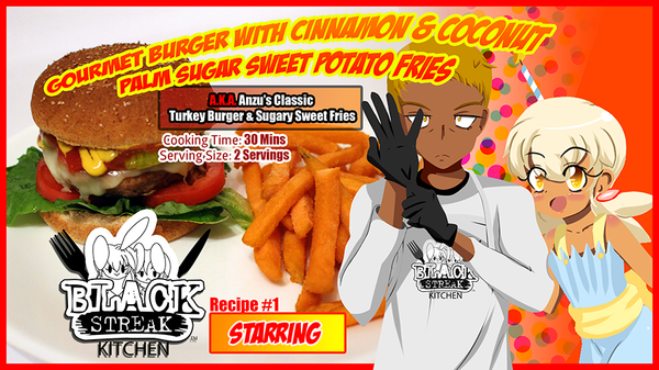 Image of Gourmet Turkey Burger With Cinnamon & Coconut Palm Sugar Sweet Potato Fries (Digital Comic)
