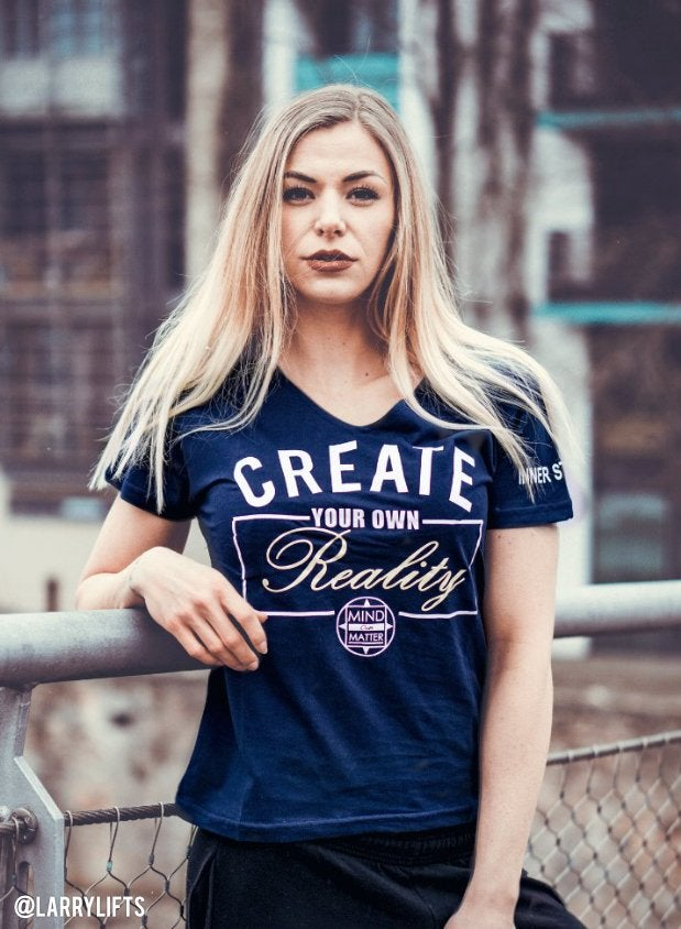 Image of CREATE YOUR OWN REALITY VNECK SHIRT | NAVY BLUE