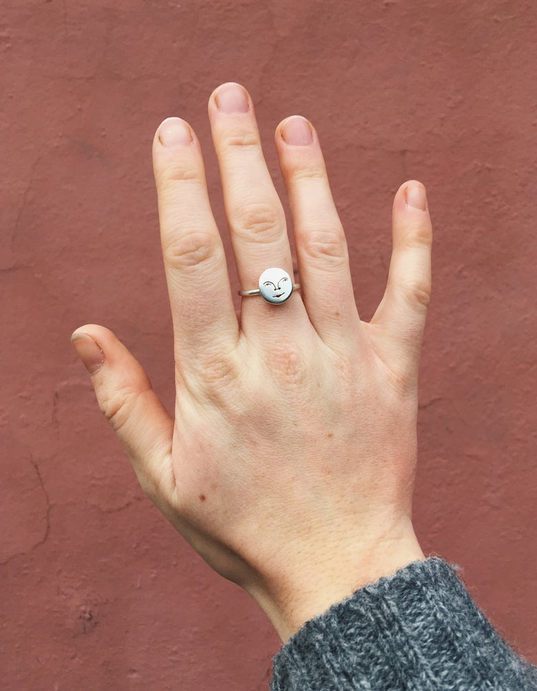 Image of extra mini moon face ring