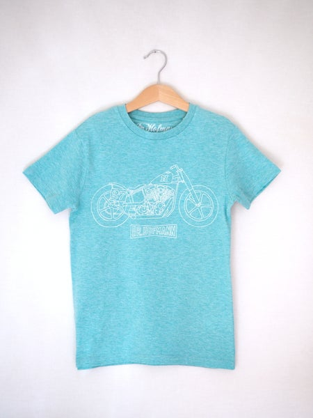 "Image of Kids ""MOTORCYCLE"" Tee - Organic Cotton - Turquoise"