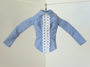 Image of Oxford blue shirt with white lace for Poppy Parker or Barbie (see description)
