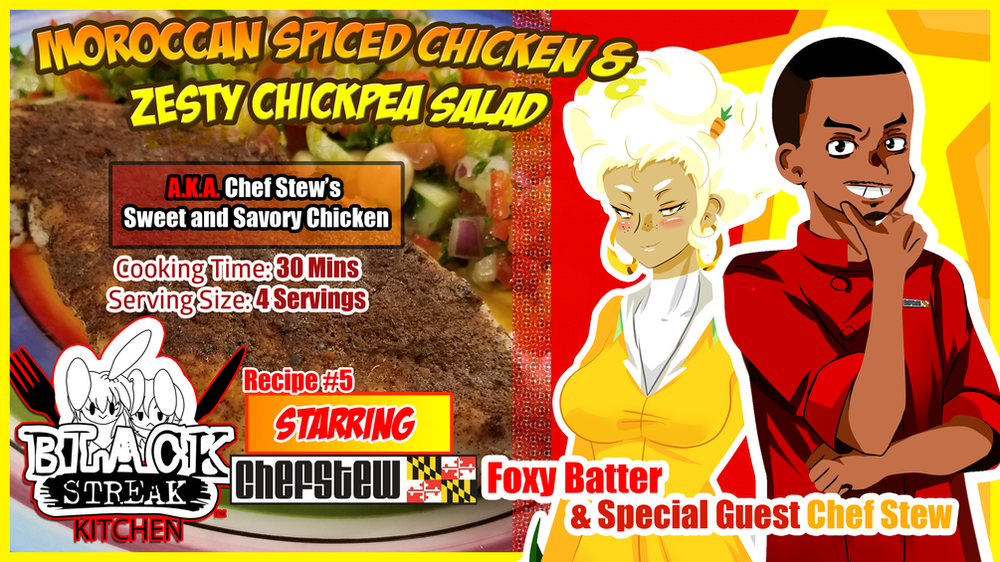 Image of Moroccan Spiced Chicken & Zesty Chickpea Salad - By Chef Stew (Digital Comic)