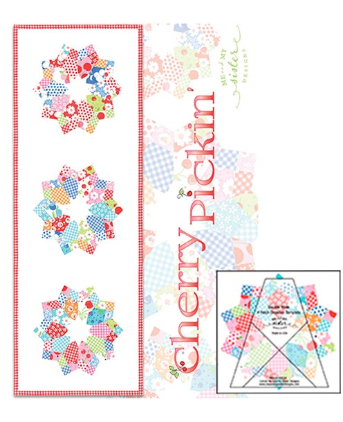 Image of Double Wide 4-Patch Dresden Template and Cherry Pickin' Pattern (Hard Copy)