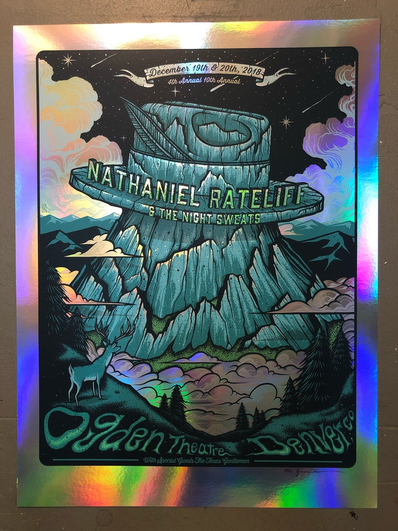 Image of Nathaniel Rateliff & The Night Sweats - December 19th & 20th 2018 - Ogden Theatre - Rainbow Foil Ed