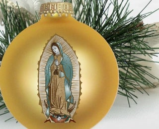 Image of Our Lady of Guadalupe Gold Velvet Christmas Ornament - Limited Stock