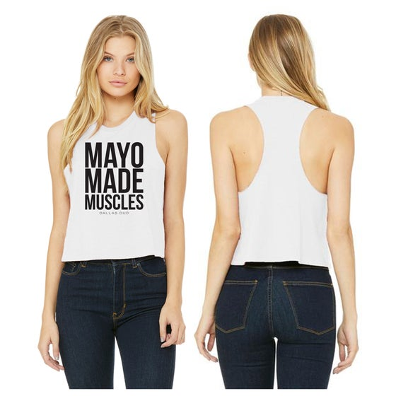 Image of White Women's Crop Tank Racerback -Mayo- 6682