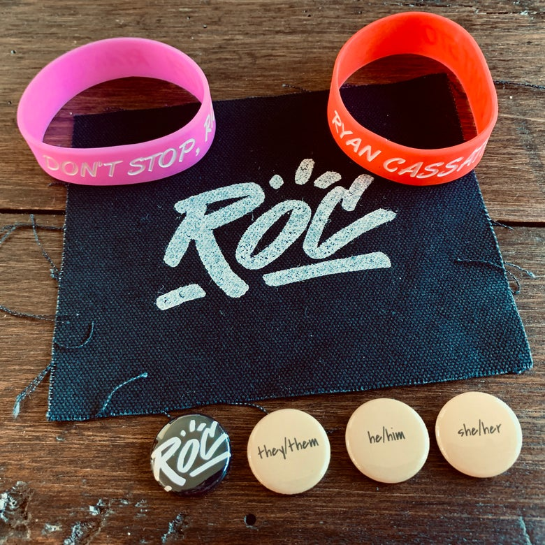 Image of 2 Bracelets, 1 Handmade Patch, 4 Pins + Stickers Combo Pack
