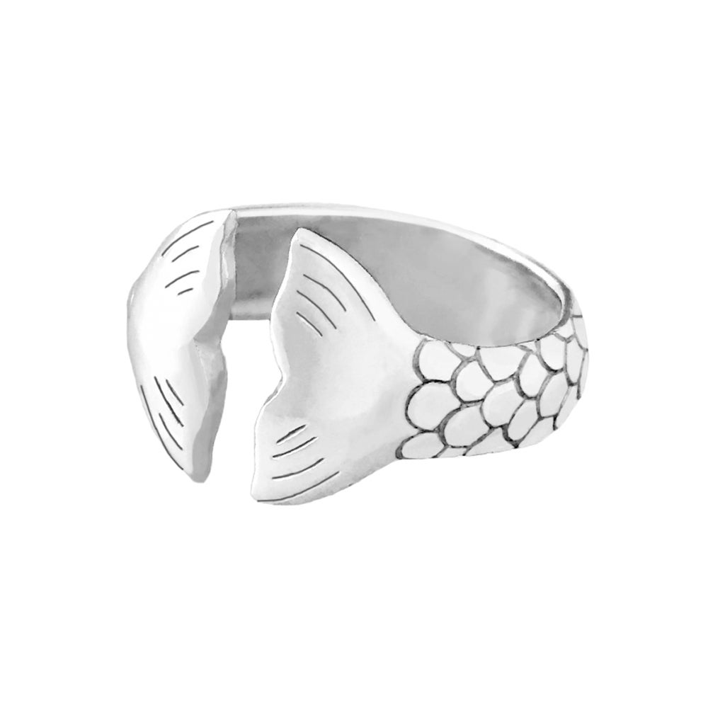 Image of Mermaid Tail Ring - Oxidized Silver
