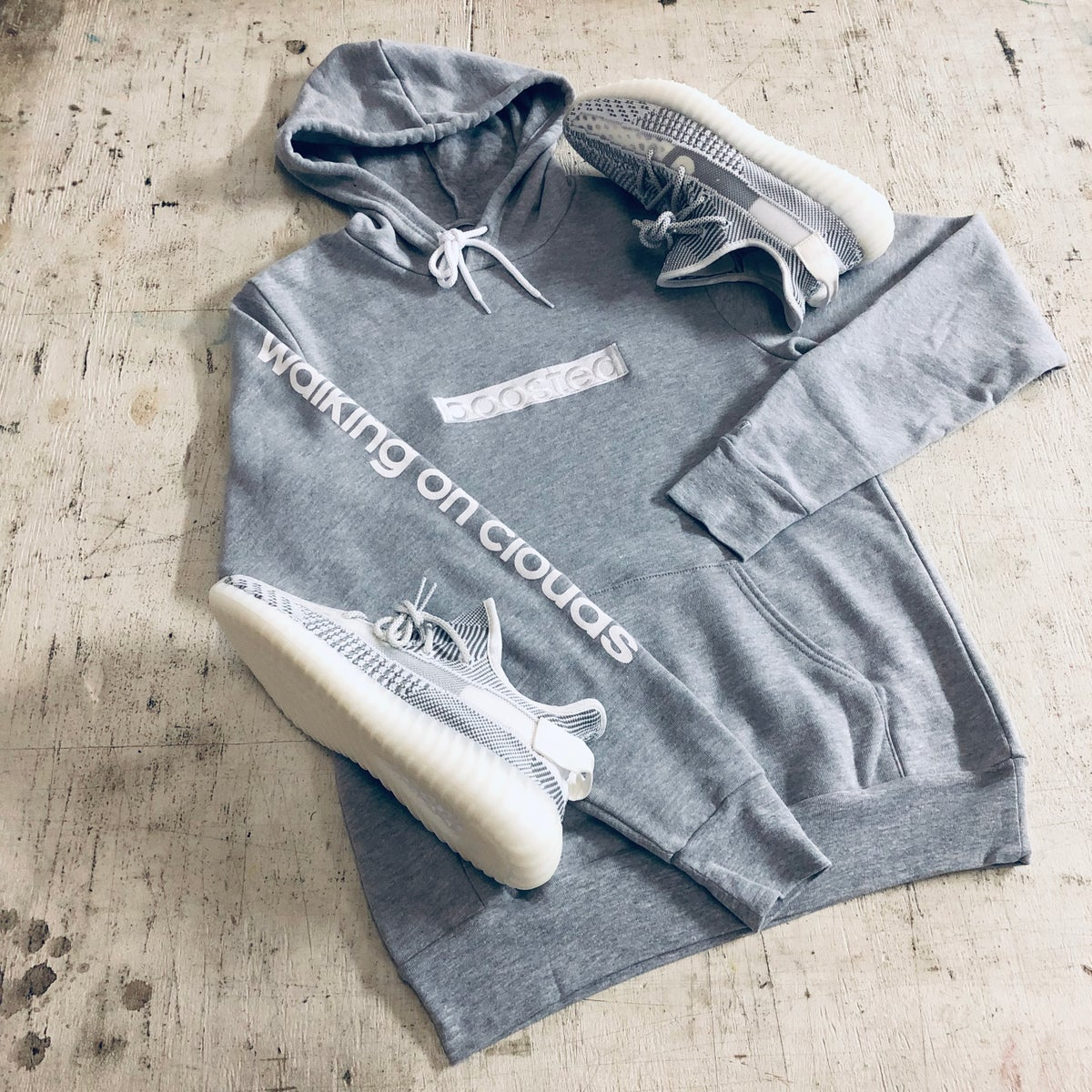 "Image of BOOSTED LONG""WHITE ON WHITE"" EMBROIDERY HOODY"