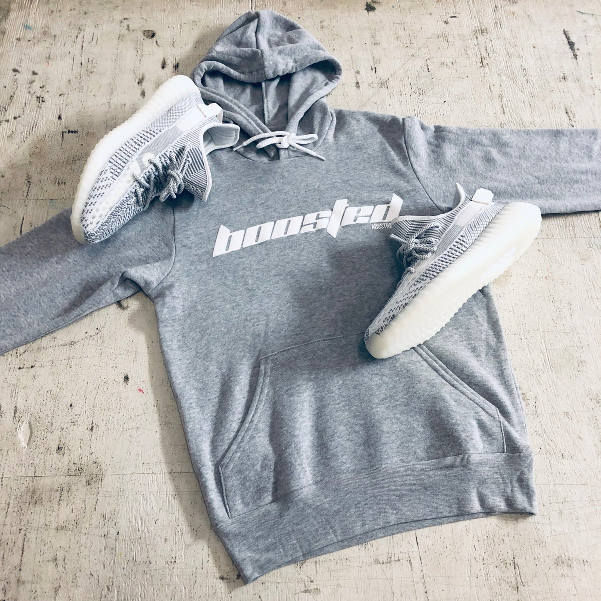 "Image of BOOSTED ""CALABASAS"" GREY --- T-SHIRT, HOODY OR DAD HAT"