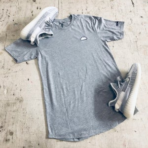 Image of CLOUD EMBROIDERY LONG BODY T-SHIRT W/ SCALLOPED BOTTOM HEM