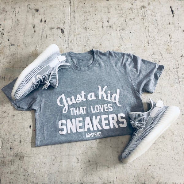 "Image of JUST A KID THAT LOVES SNEAKERS ""GREY/WHITE"" TSHIRT"