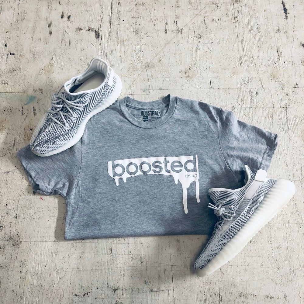 "Image of BOOSTED "" WHITE PRINT "" T-SHIRT"