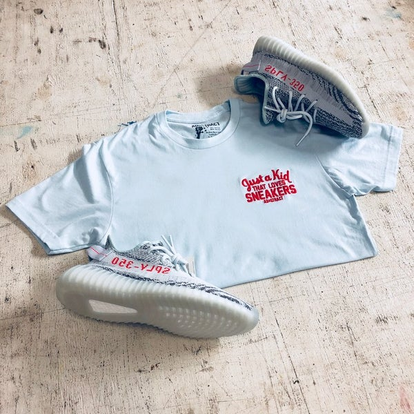 Image of JUST A KID THAT LOVES SNEAKER EMBROIDERY (BLUE TINT) T-SHIRT