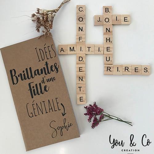 """Image of Carnet de notes """"Idées brillantes d'une fille géniale"""" personnalisable"""