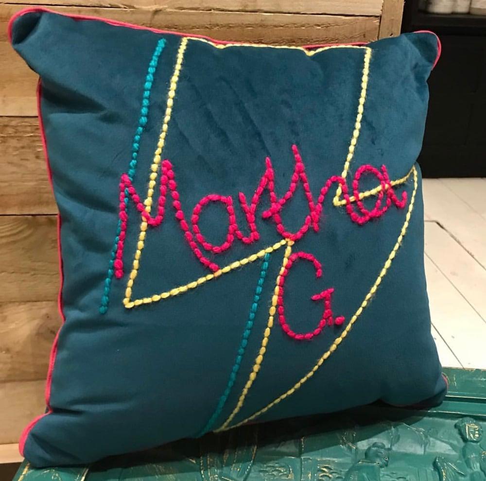 Image of Lightening bolt personalised cushion