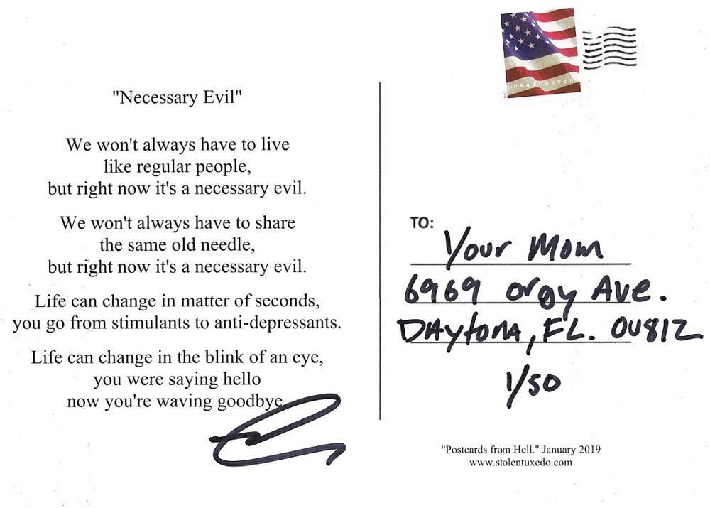 "Image of Postcards from Hell - ""Necessary Evil"""