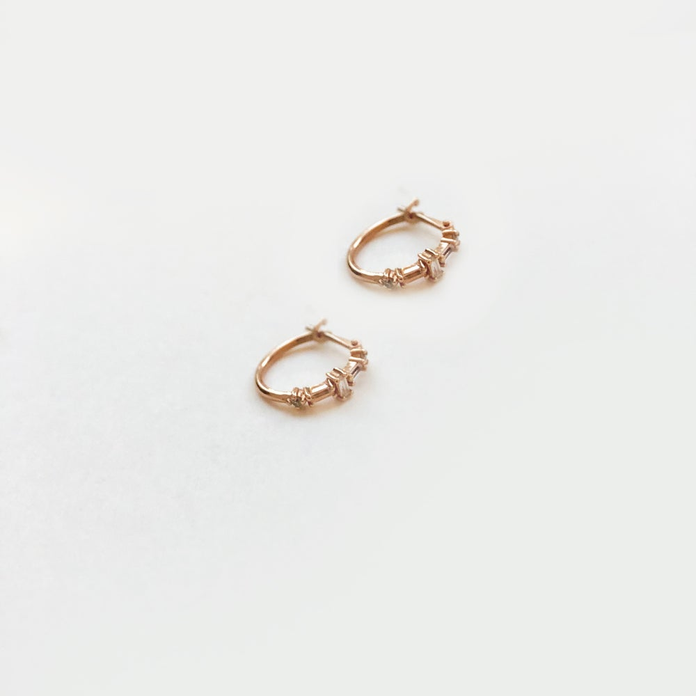 Image of Deco Mini Hoop Earring