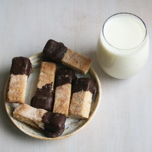 Image of Traditional Shortbread Fingers Dipped in Dark Chocolate - TWO DOZEN
