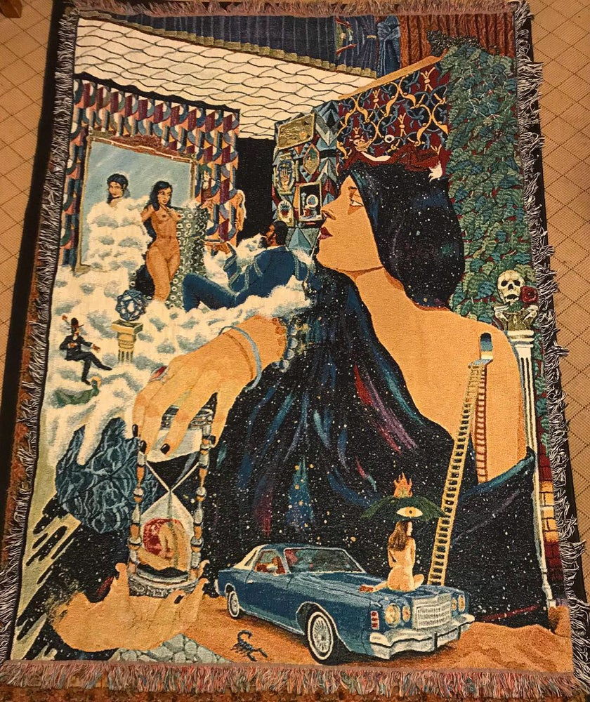 Image of The Serpent merchant Returns woven tapestry/blanket