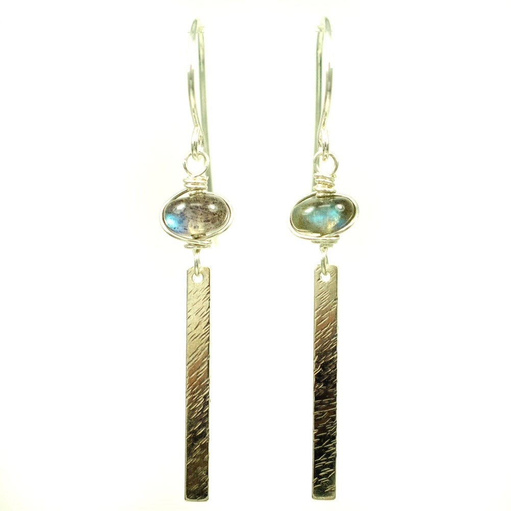 Image of Sterling silver stick earrings with labradorite
