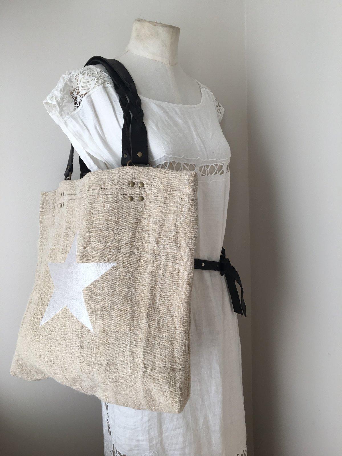 Bessie Linen Tote - White star