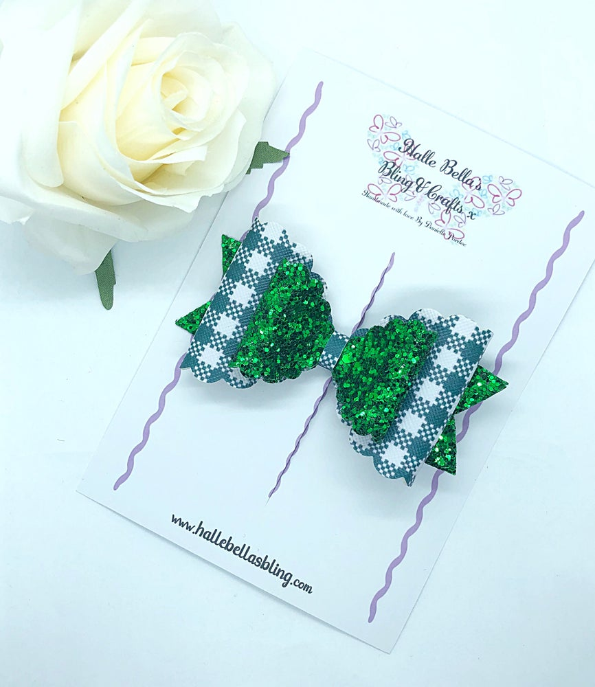 Image of Gingham & glitter school bow