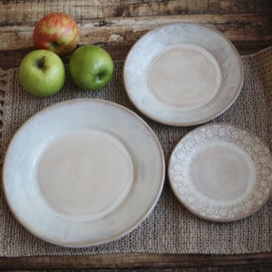 Image of Rustic White Dinnerware Place Setting, Handcrafted Ceramic Pottery Made in USA