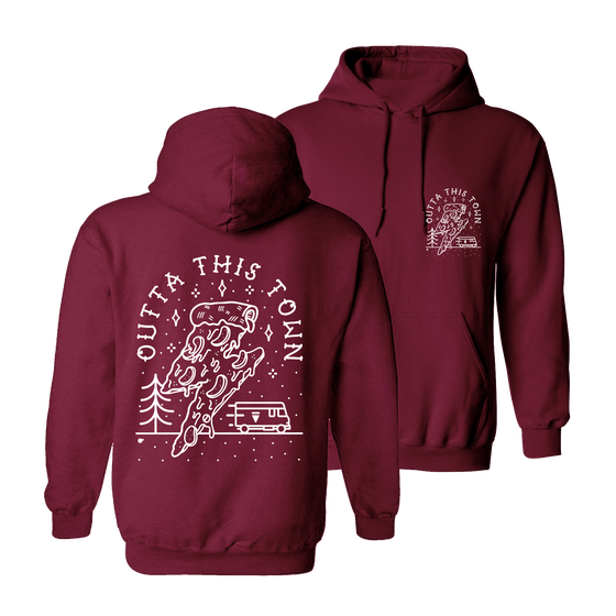Image of Pizza Way Hoodie Burgundy