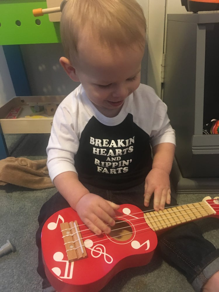 Image of Breakin Hearts Rippin Farts - Toddler 3/4 baseball tee