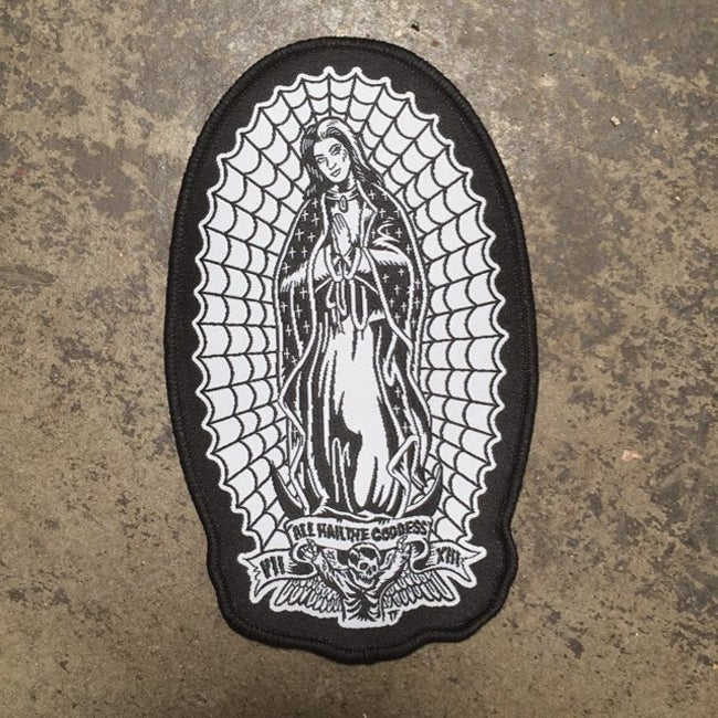 Image of All Hail the Goddess Virgin Lily Munster of Guadalupe Woven Patch