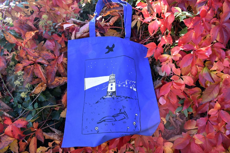Image of Screen printed lighthouse tote bag