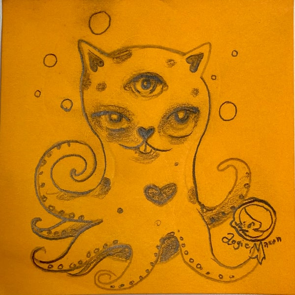 Image of ArtBits Itty bitty stickies sketch - Catopuss