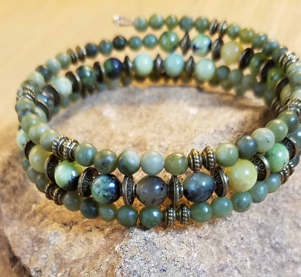 Image of Green Agate Wrap Bracelet