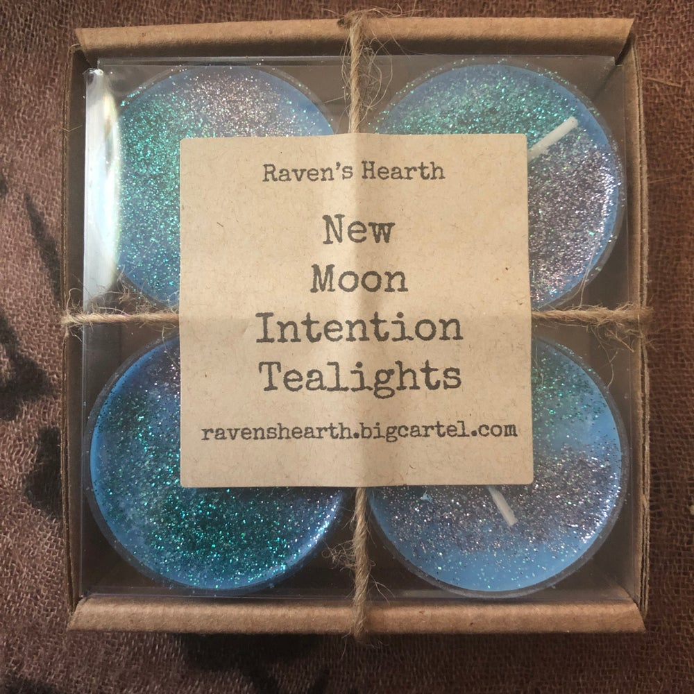 Image of New Moon Intention Tea Light Candles (pack of 4)