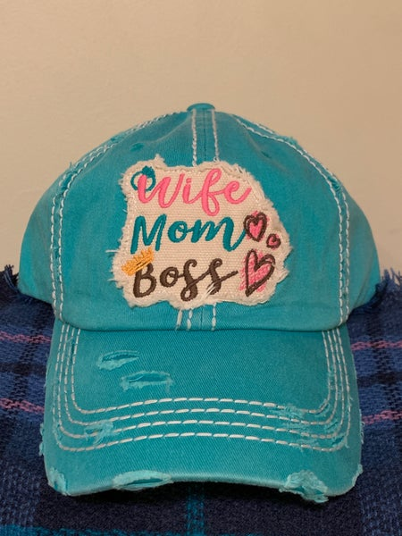 Image of Distressed Wife Mom Boss cap