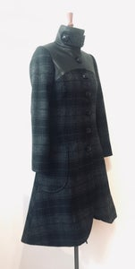 Image of Leather and tweed coat