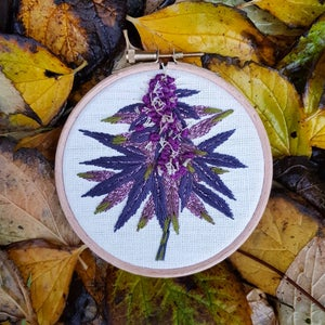 Image of Cannabis Embroidery/ 4 inch round hoop