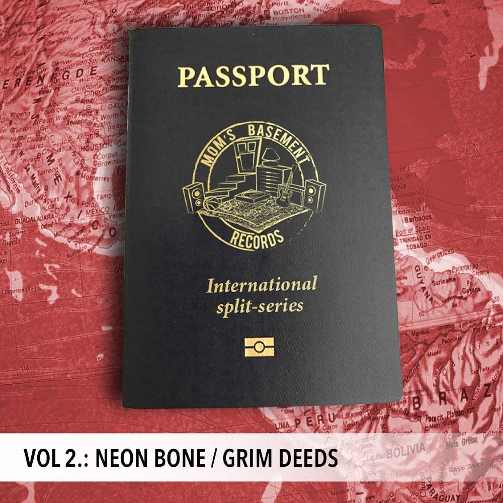 """Image of NEON BONE / GRIM DEEDS - PASSPORT INTERNATIONAL SPLIT SERIES VOL. 2 (7"""")"""