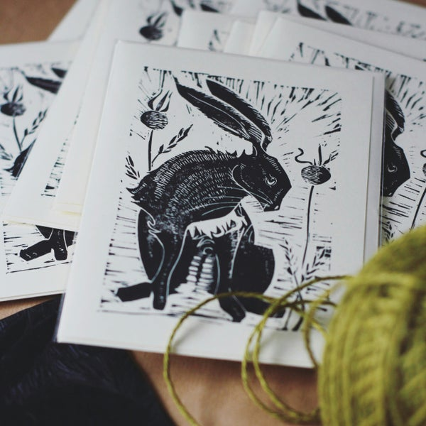 Image of Hare with poppy seeds 5x7inch card