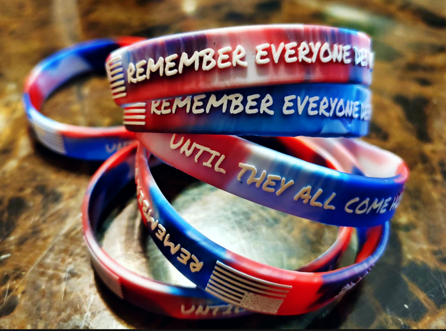 Red, White, & Blue 3D Wristbands